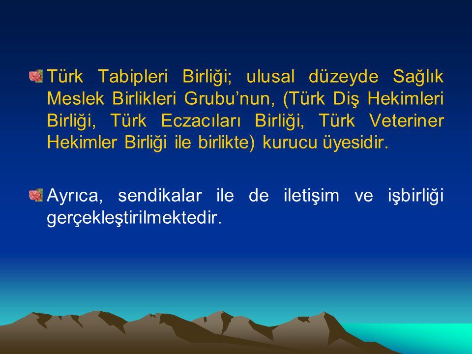 Türk Tabipleri Birliği; ulusal düzeyde Sağlık Meslek Birlikleri Grubu'nun, (Türk Diş Hekimleri Birliği, Türk Eczacıları Birliği, Türk Veteriner Hekimler Birliği ile birlikte) kurucu üyesidir.
