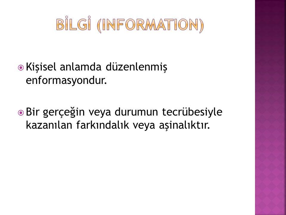 kayıtlı bilgi  Herhangi bir bireysel veya kurumsal fonksiyonun yerine getirilmesi için alınmış, ya da fonksiyonun sonucunda üretilmiş, içerik, ilişki ve formatı ile ait olduğu fonksiyon için delil teşkil eden kayıtlı bilgidir.