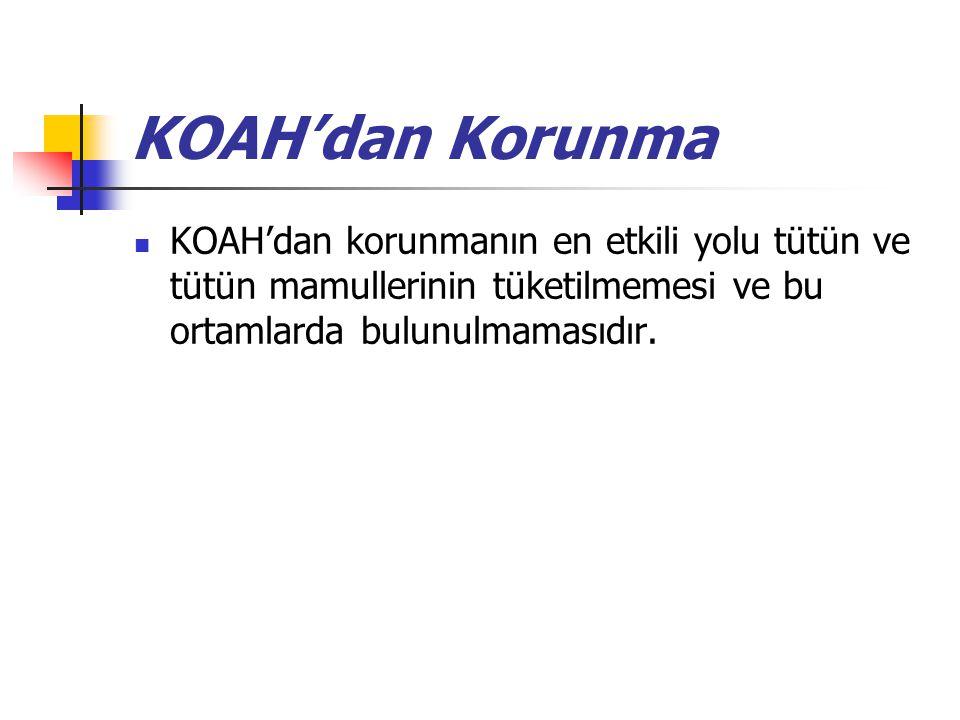 KOAH'dan Korunma KOAH'dan korunmanın en etkili yolu tütün ve tütün mamullerinin tüketilmemesi ve bu ortamlarda bulunulmamasıdır.