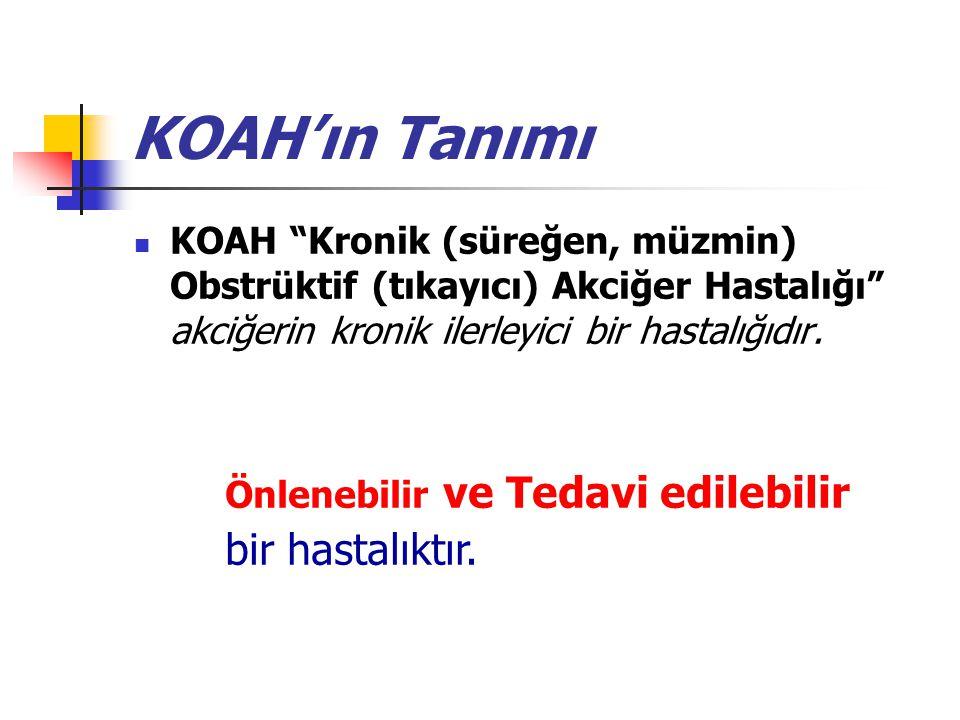 """KOAH'ın Tanımı KOAH """"Kronik (süreğen, müzmin) Obstrüktif (tıkayıcı) Akciğer Hastalığı"""" akciğerin kronik ilerleyici bir hastalığıdır. Önlenebilir ve Te"""
