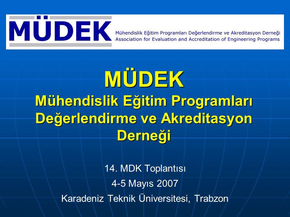 MÜDEK Mühendislik Eğitim Programları Değerlendirme ve Akreditasyon Derneği 14.