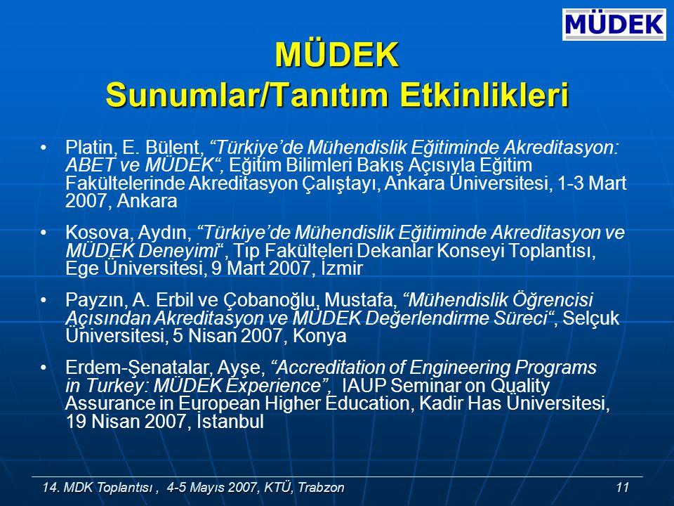 14. MDK Toplantısı, 4-5 Mayıs 2007, KTÜ, Trabzon11 MÜDEK Sunumlar/Tanıtım Etkinlikleri Platin, E.