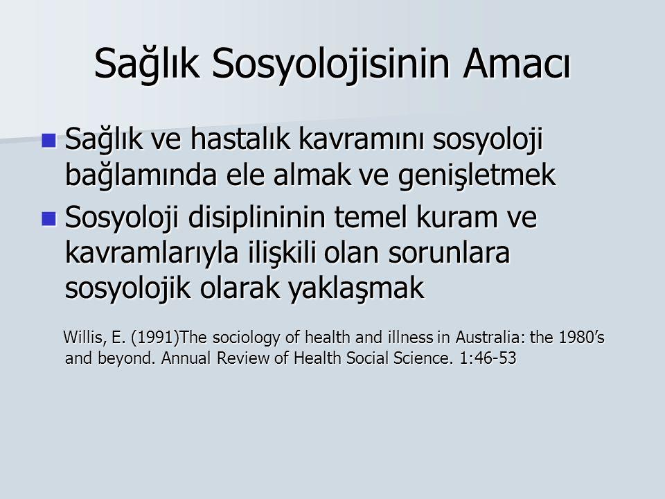 Sağlık Sosyolojisinin Amacı Sağlık ve hastalık kavramını sosyoloji bağlamında ele almak ve genişletmek Sağlık ve hastalık kavramını sosyoloji bağlamın