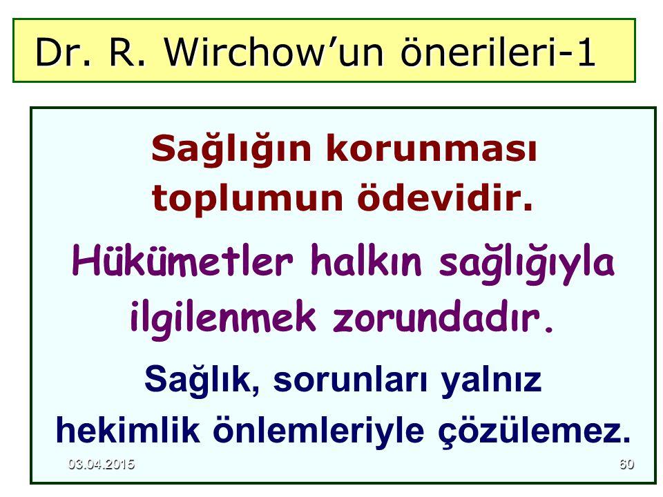 Dr. R. Wirchow'un önerileri-1 Dr. R. Wirchow'un önerileri-1 Sağlığın korunması toplumun ödevidir. Hükümetler halkın sağlığıyla ilgilenmek zorundadır.