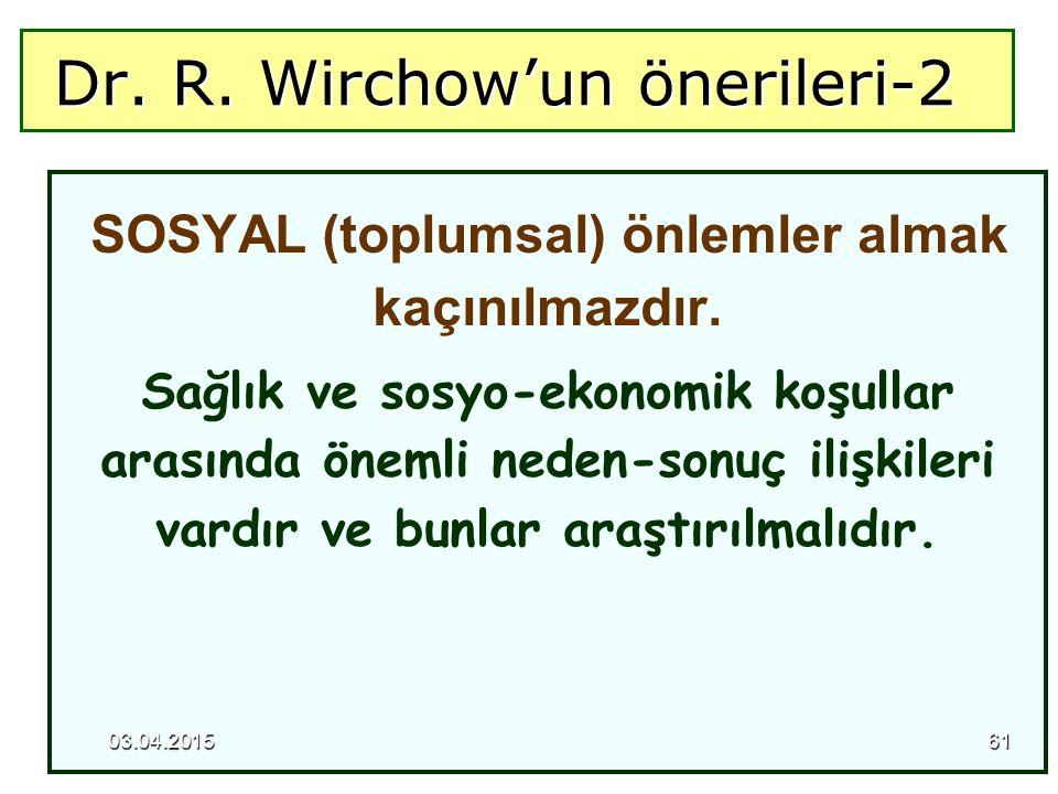 Dr. R. Wirchow'un önerileri-2 Dr. R. Wirchow'un önerileri-2 SOSYAL (toplumsal) önlemler almak kaçınılmazdır. Sağlık ve sosyo-ekonomik koşullar arasınd