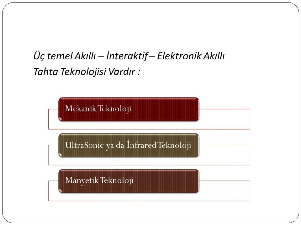 Üç temel Akıllı – İnteraktif – Elektronik Akıllı Tahta Teknolojisi Vardır : Mekanik TeknolojiUltraSonic ya da İ nfrared TeknolojiManyetik Teknoloji