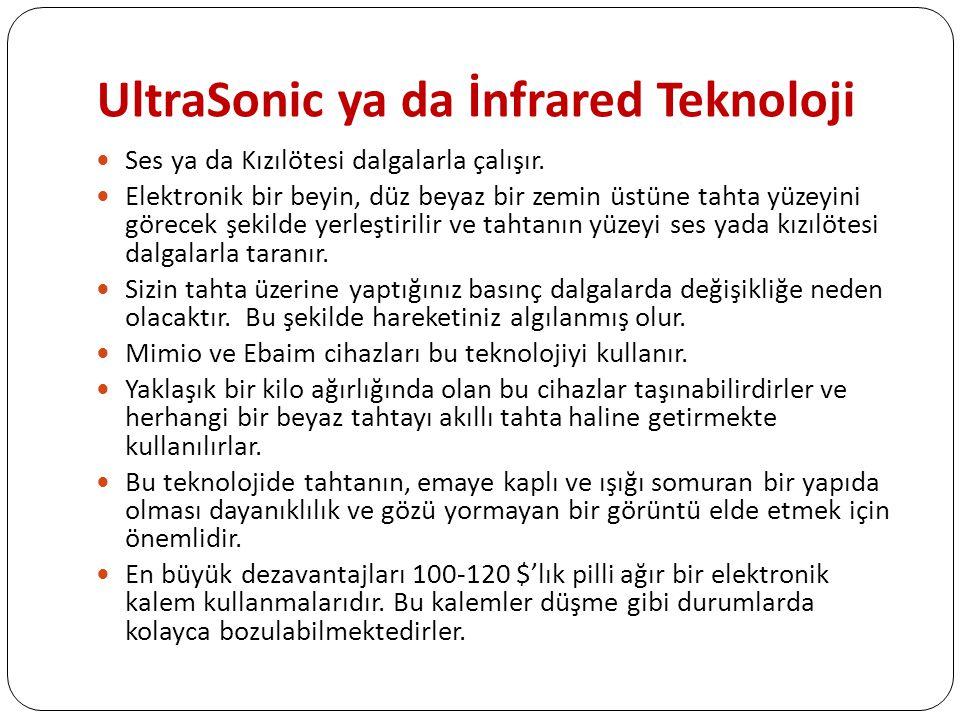 UltraSonic ya da İnfrared Teknoloji Ses ya da Kızılötesi dalgalarla çalışır.