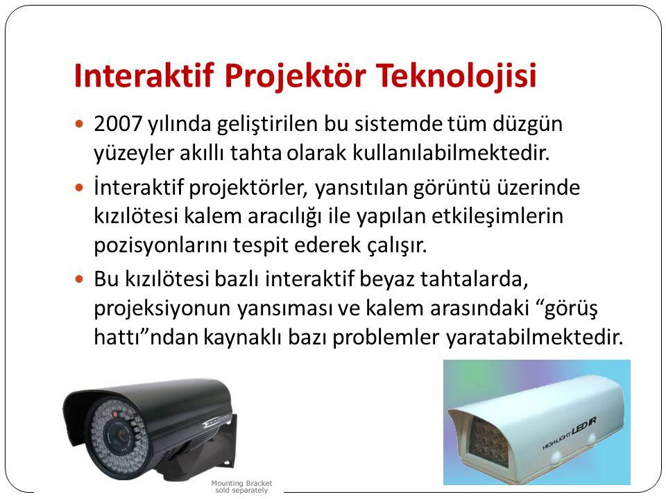 Interaktif Projektör Teknolojisi 2007 yılında geliştirilen bu sistemde tüm düzgün yüzeyler akıllı tahta olarak kullanılabilmektedir.