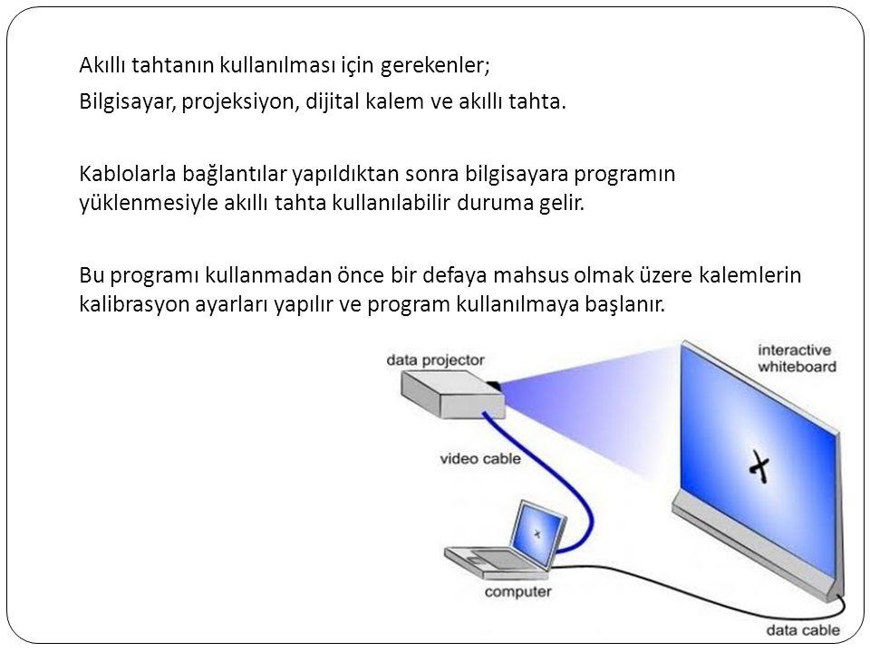 Akıllı tahtanın kullanılması için gerekenler; Bilgisayar, projeksiyon, dijital kalem ve akıllı tahta.