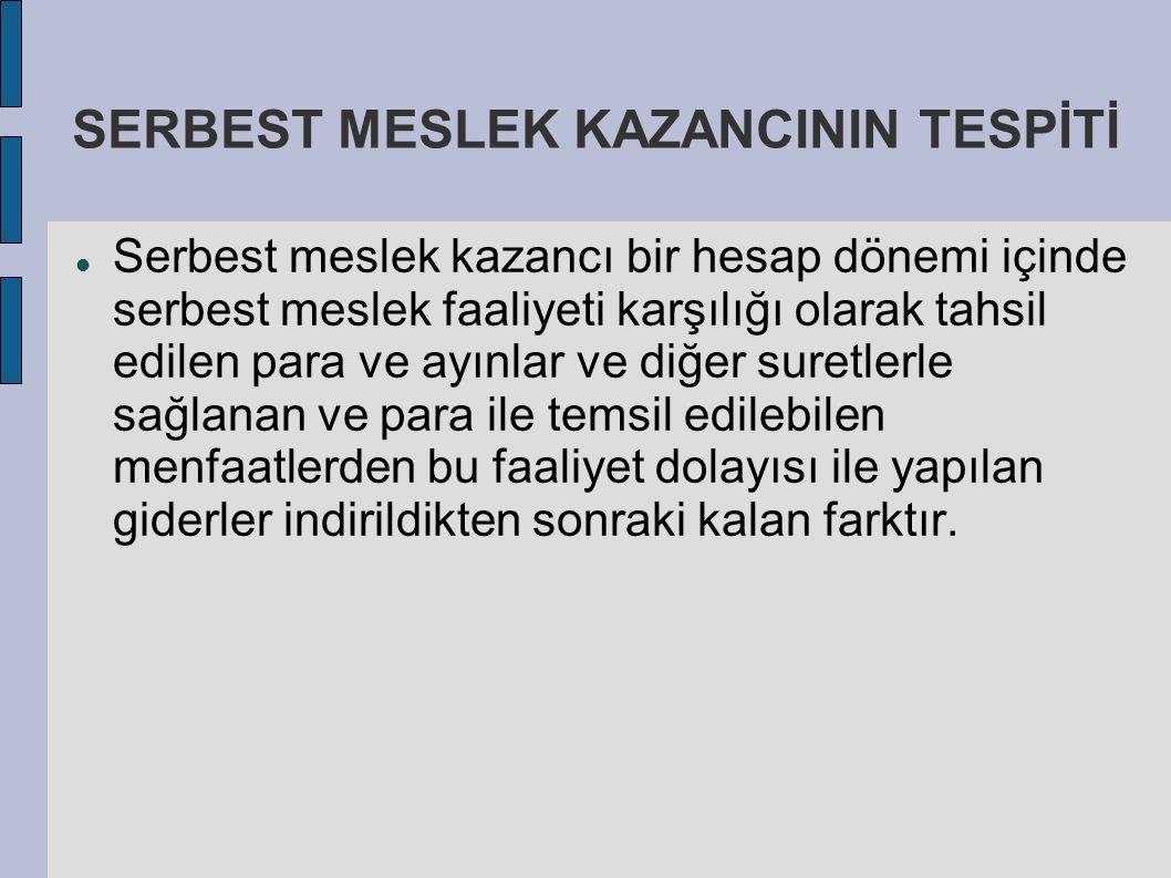 SERBEST MESLEK KAZANCININ TESPİTİ Serbest meslek kazancı bir hesap dönemi içinde serbest meslek faaliyeti karşılığı olarak tahsil edilen para ve ayınl