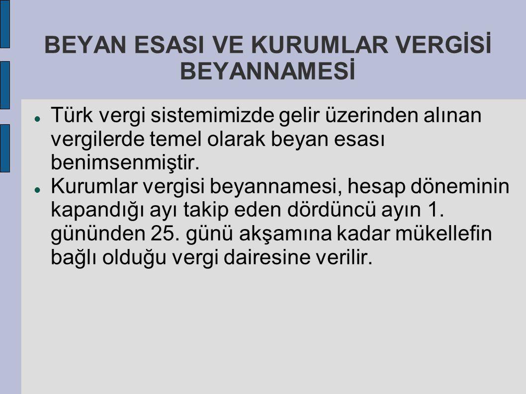 BEYAN ESASI VE KURUMLAR VERGİSİ BEYANNAMESİ Türk vergi sistemimizde gelir üzerinden alınan vergilerde temel olarak beyan esası benimsenmiştir. Kurumla