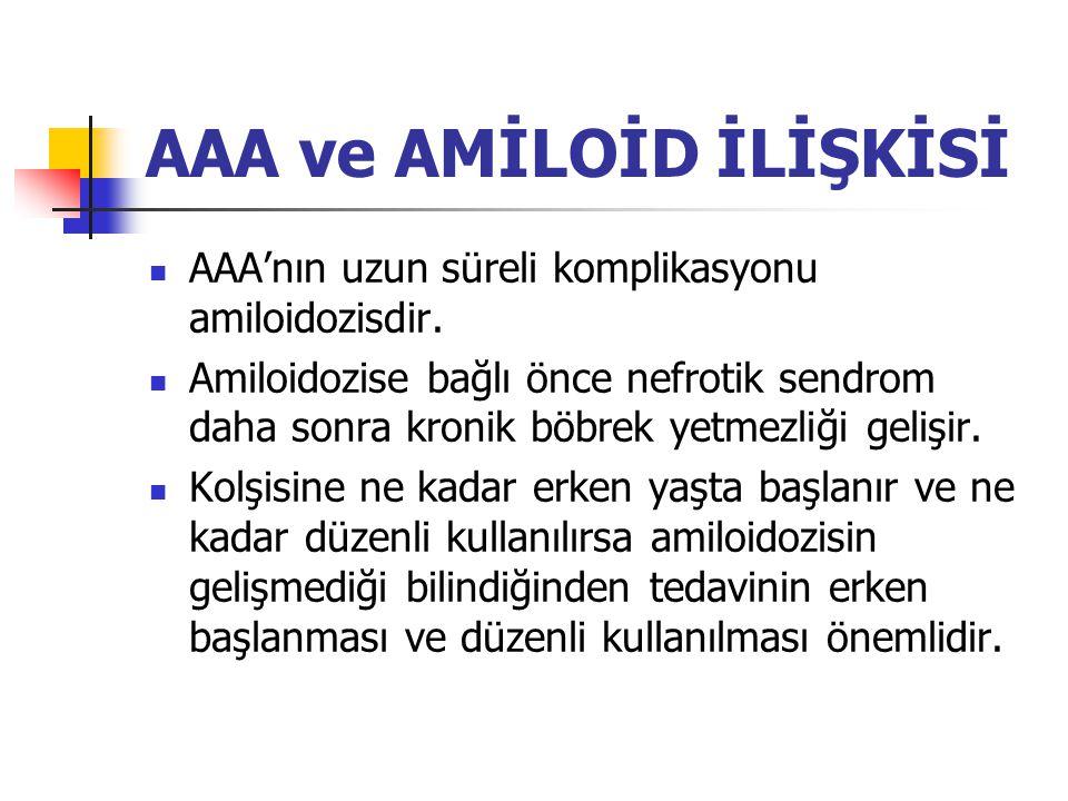 AAA ve AMİLOİD İLİŞKİSİ AAA'nın uzun süreli komplikasyonu amiloidozisdir. Amiloidozise bağlı önce nefrotik sendrom daha sonra kronik böbrek yetmezliği