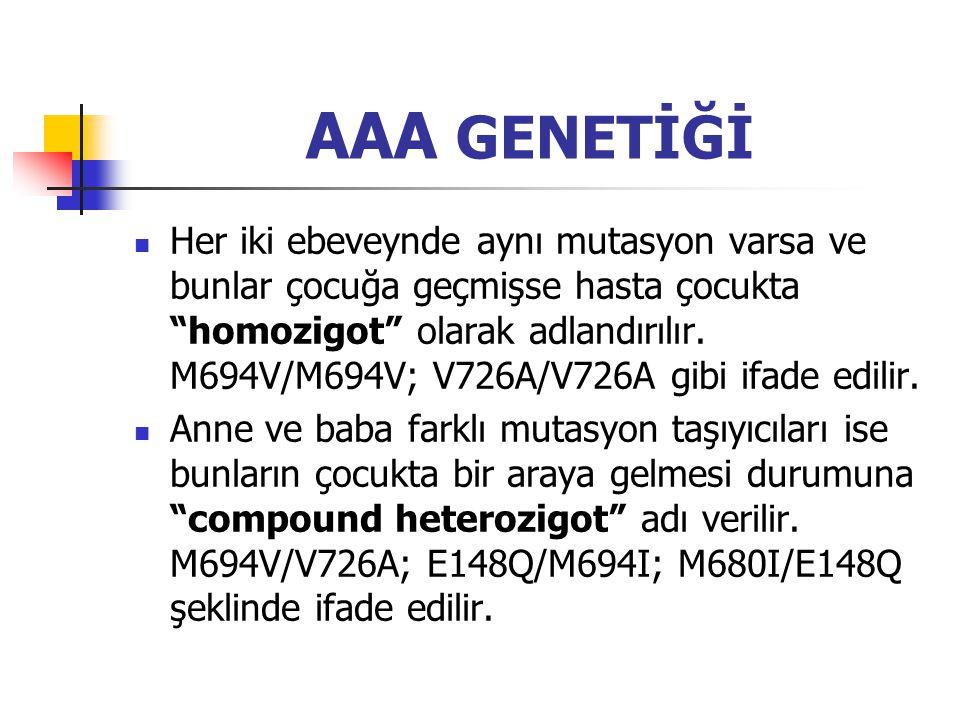 """AAA GENETİĞİ Her iki ebeveynde aynı mutasyon varsa ve bunlar çocuğa geçmişse hasta çocukta """"homozigot"""" olarak adlandırılır. M694V/M694V; V726A/V726A g"""