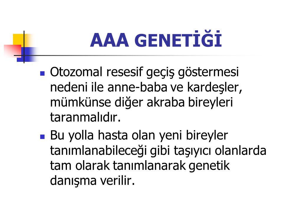 AAA GENETİĞİ Otozomal resesif geçiş göstermesi nedeni ile anne-baba ve kardeşler, mümkünse diğer akraba bireyleri taranmalıdır. Bu yolla hasta olan ye