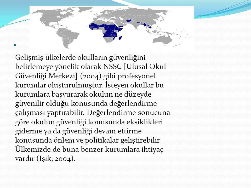 . Gelişmiş ülkelerde okulların güvenliğini belirlemeye yönelik olarak NSSC [Ulusal Okul Güvenliği Merkezi] (2004) gibi profesyonel kurumlar oluşturulm