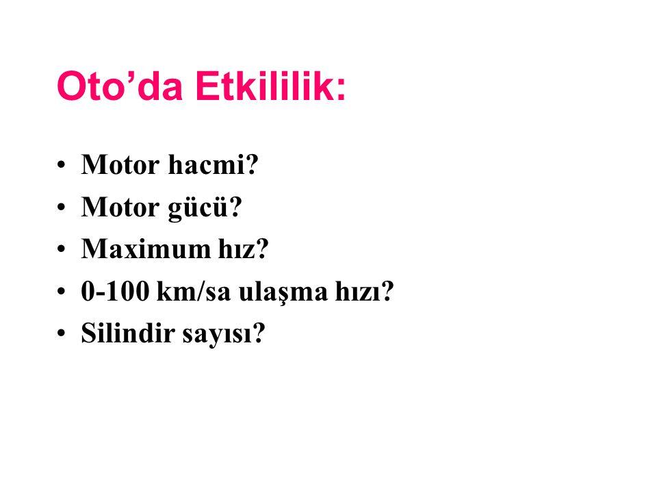 Oto'da Etkililik: Motor hacmi? Motor gücü? Maximum hız? 0-100 km/sa ulaşma hızı? Silindir sayısı?