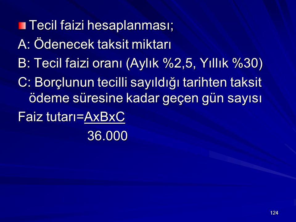 124 Tecil faizi hesaplanması; A: Ödenecek taksit miktarı B: Tecil faizi oranı (Aylık %2,5, Yıllık %30) C: Borçlunun tecilli sayıldığı tarihten taksit ödeme süresine kadar geçen gün sayısı Faiz tutarı=AxBxC 36.000 36.000