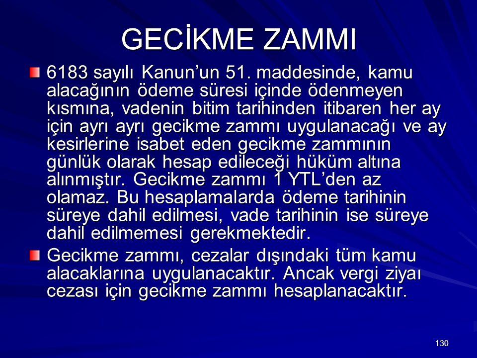 130 GECİKME ZAMMI 6183 sayılı Kanun'un 51.