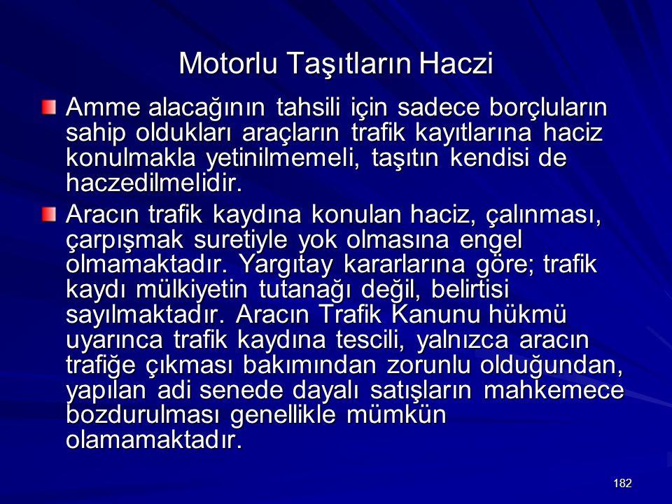 182 Motorlu Taşıtların Haczi Amme alacağının tahsili için sadece borçluların sahip oldukları araçların trafik kayıtlarına haciz konulmakla yetinilmemeli, taşıtın kendisi de haczedilmelidir.