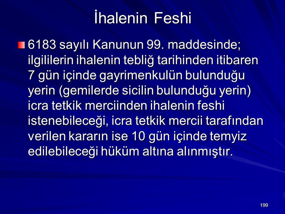 199 İhalenin Feshi 6183 sayılı Kanunun 99.