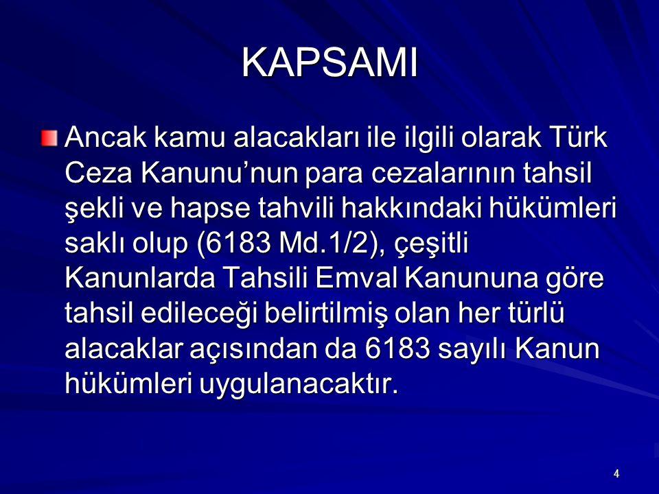 5 KAPSAMI Özel kanunlarında tahsil şekli gösterilmemiş amme nev'inden para cezalarının tahsil usulü de Türk Ceza Kanunu'na göre olacaktır.