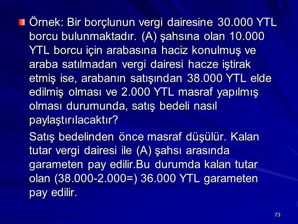 73 Örnek: Bir borçlunun vergi dairesine 30.000 YTL borcu bulunmaktadır.