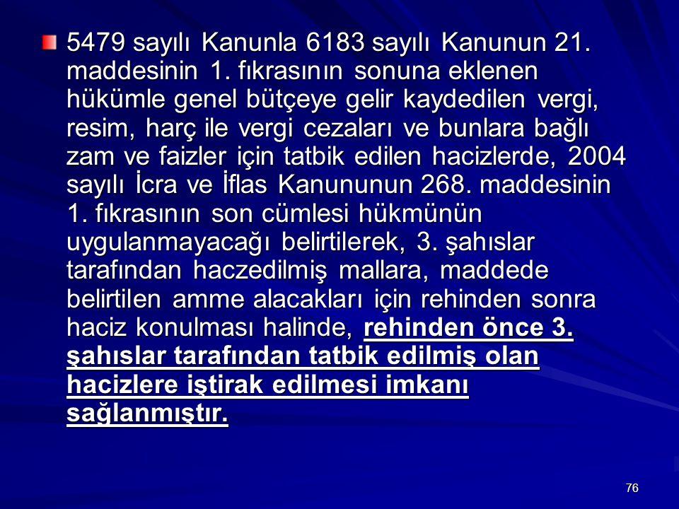 76 5479 sayılı Kanunla 6183 sayılı Kanunun 21.maddesinin 1.