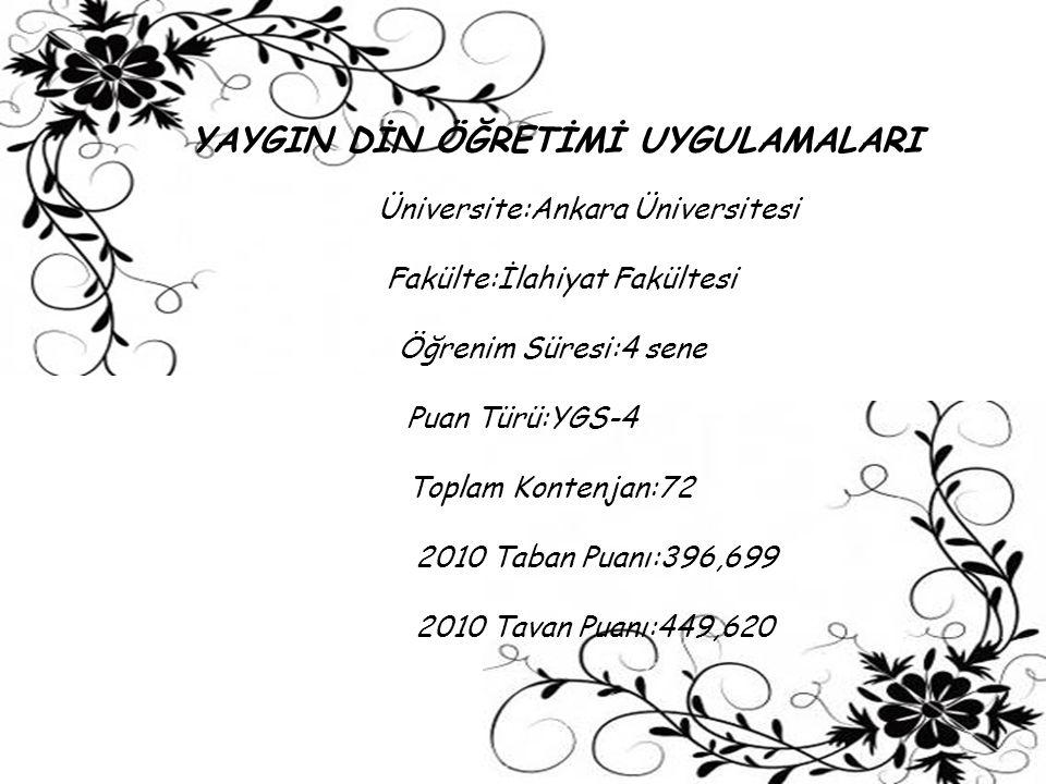 YAYGIN DİN ÖĞRETİMİ UYGULAMALARI Üniversite:Ankara Üniversitesi Fakülte:İlahiyat Fakültesi Öğrenim Süresi:4 sene Puan Türü:YGS-4 Toplam Kontenjan:72 2
