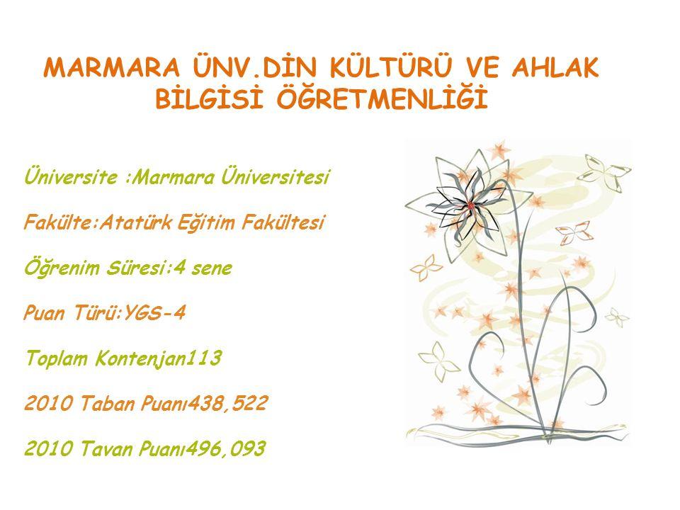 MARMARA ÜNV.DİN KÜLTÜRÜ VE AHLAK BİLGİSİ ÖĞRETMENLİĞİ Üniversite :Marmara Üniversitesi Fakülte:Atatürk Eğitim Fakültesi Öğrenim Süresi:4 sene Puan Tür