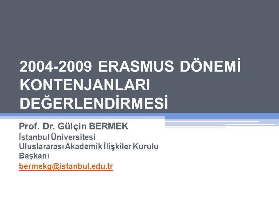 2004-2009 ERASMUS DÖNEMİ KONTENJANLARI DEĞERLENDİRMESİ Prof.