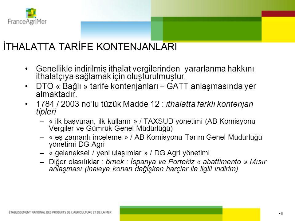 İTHALATTA TARİFE KONTENJANLARI (2) Menşe ülkeden belgeleri isteme imkanı –Örnek : Tayland için manyok kontenjanı Takvim yılı veya kampanya başına yönetim Bölümler için mümkün olan yönetim Araçlar yükümlülüğü / + sonuçlar yükümlülüğü .