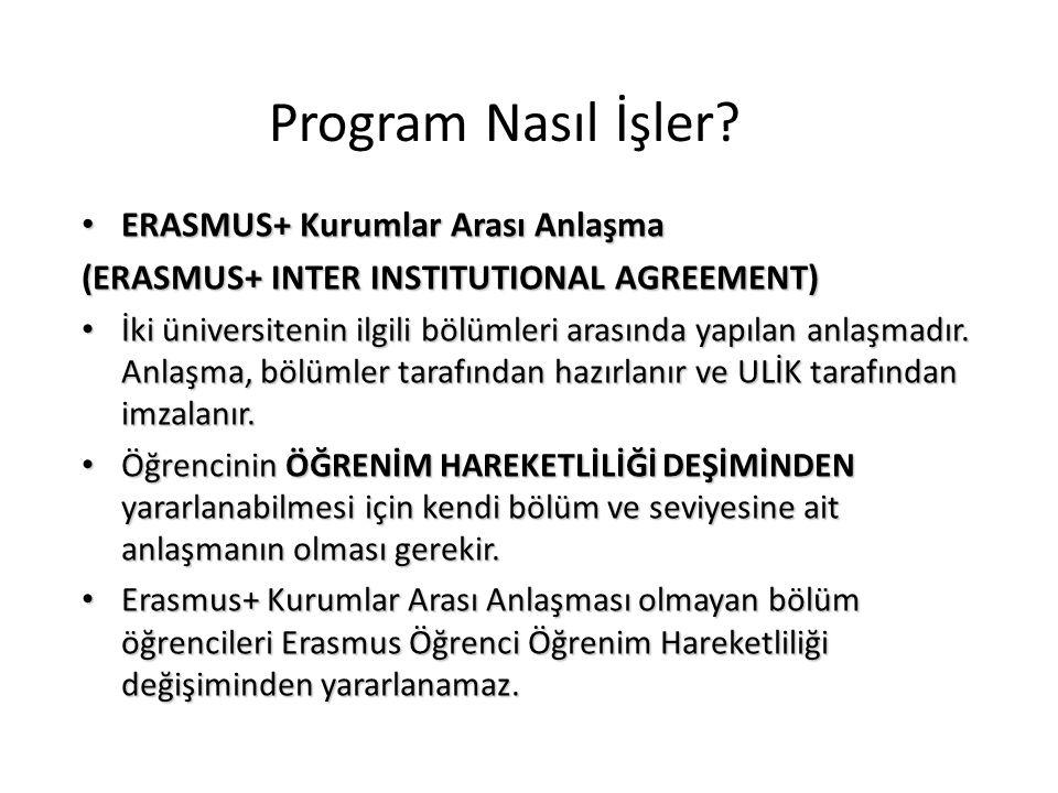 ERASMUS+ Kurumlar Arası Anlaşma ERASMUS+ Kurumlar Arası Anlaşma (ERASMUS+ INTER INSTITUTIONAL AGREEMENT) İki üniversitenin ilgili bölümleri arasında y