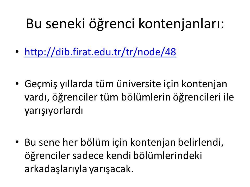 Bu seneki öğrenci kontenjanları: http://dib.firat.edu.tr/tr/node/48 Geçmiş yıllarda tüm üniversite için kontenjan vardı, öğrenciler tüm bölümlerin öğr