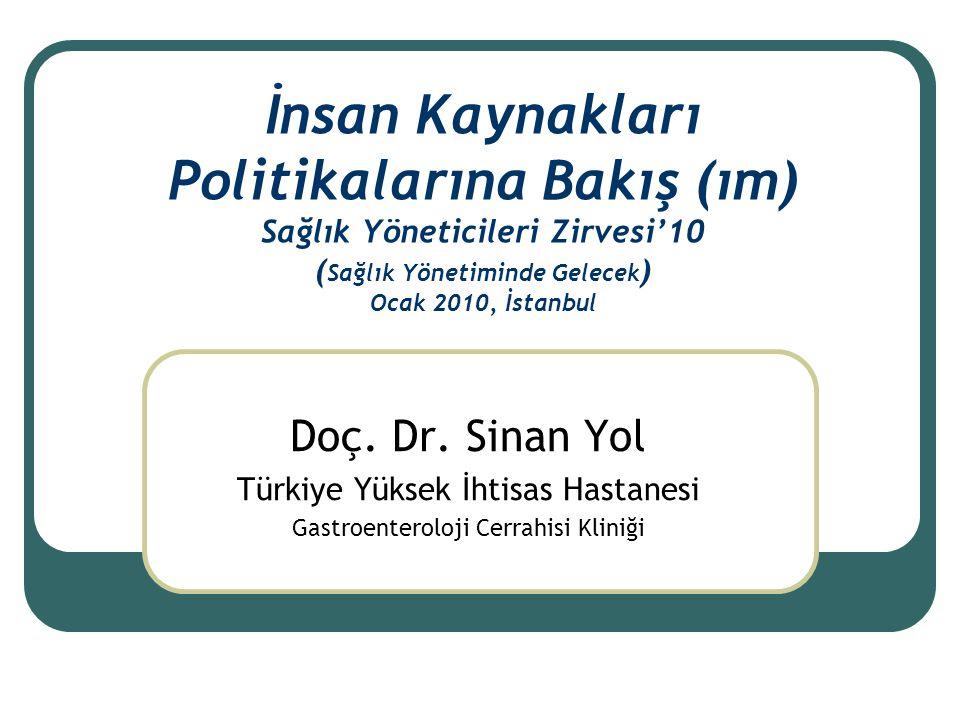 İnsan Kaynakları Politikalarına Bakış (ım) Sağlık Yöneticileri Zirvesi'10 ( Sağlık Yönetiminde Gelecek ) Ocak 2010, İstanbul Doç.