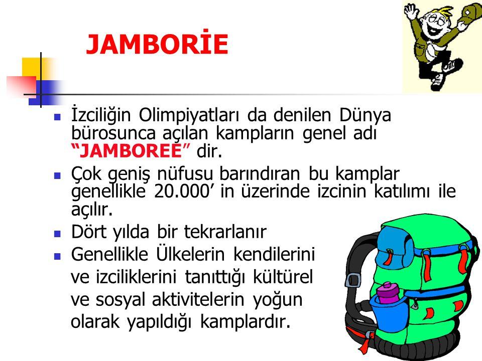 """JAMBORİE İzciliğin Olimpiyatları da denilen Dünya bürosunca açılan kampların genel adı """"JAMBOREE"""" dir. Çok geniş nüfusu barındıran bu kamplar genellik"""