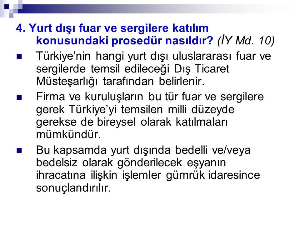 4. Yurt dışı fuar ve sergilere katılım konusundaki prosedür nasıldır? (İY Md. 10) Türkiye'nin hangi yurt dışı uluslararası fuar ve sergilerde temsil e
