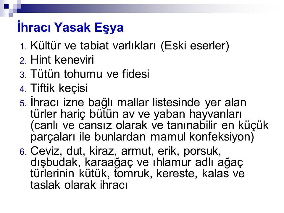 İhracı Yasak Eşya 1.Kültür ve tabiat varlıkları (Eski eserler) 2.