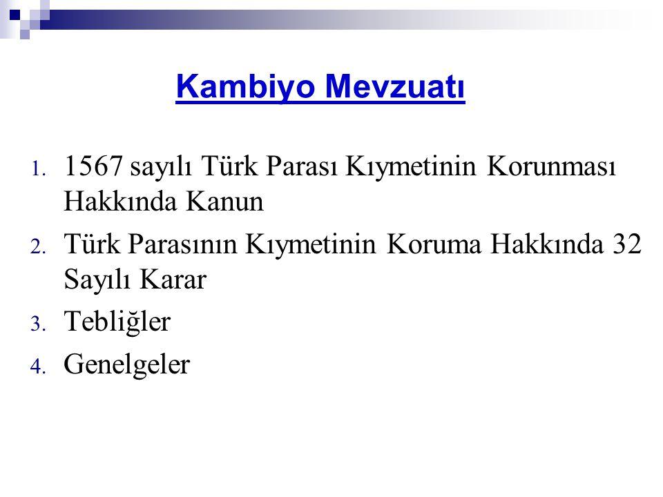 Kambiyo Mevzuatı 1. 1567 sayılı Türk Parası Kıymetinin Korunması Hakkında Kanun 2. Türk Parasının Kıymetinin Koruma Hakkında 32 Sayılı Karar 3. Tebliğ