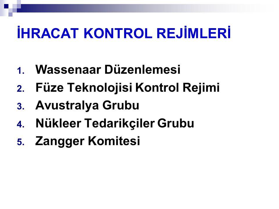 İHRACAT KONTROL REJİMLERİ 1.Wassenaar Düzenlemesi 2.