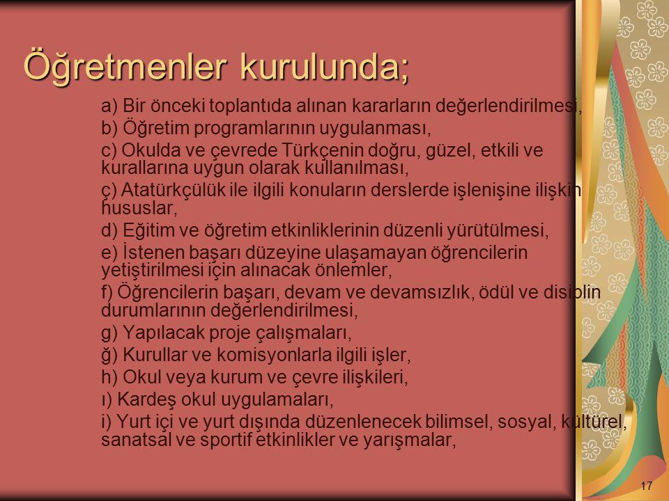 Öğretmenler kurulunda; a) Bir önceki toplantıda alınan kararların değerlendirilmesi, b) Öğretim programlarının uygulanması, c) Okulda ve çevrede Türkç