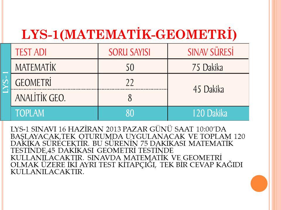 LYS-1(MATEMATİK-GEOMETRİ) LYS-1 SINAVI 16 HAZİRAN 2013 PAZAR GÜNÜ SAAT 10:00'DA BAŞLAYACAK,TEK OTURUMDA UYGULANACAK VE TOPLAM 120 DAKİKA SÜRECEKTİR. B