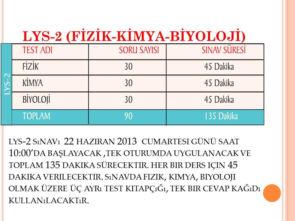 LYS-2 (FİZİK-KİMYA-BİYOLOJİ) LYS -2 SıNAVı 22 HAZIRAN 2013 CUMARTESI GÜNÜ SAAT 10:00' DA BAŞLAYACAK, TEK OTURUMDA UYGULANACAK VE TOPLAM 135 DAKIKA SÜRECEKTIR.