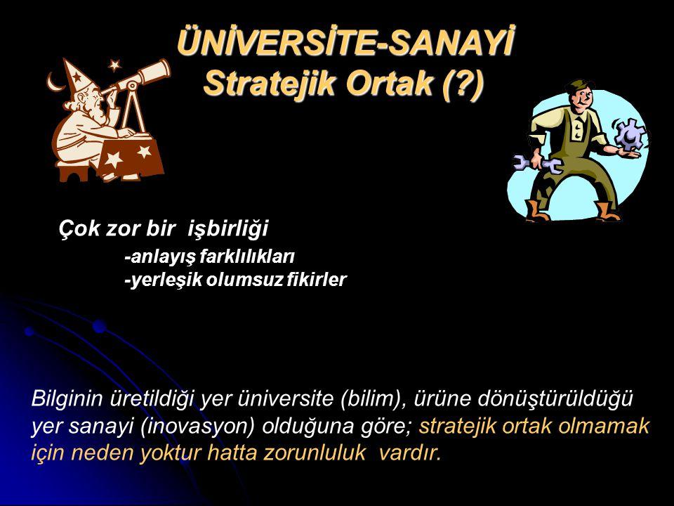 ÜNİVERSİTE-SANAYİ Stratejik Ortak (?) Bilginin üretildiği yer üniversite (bilim), ürüne dönüştürüldüğü yer sanayi (inovasyon) olduğuna göre; stratejik