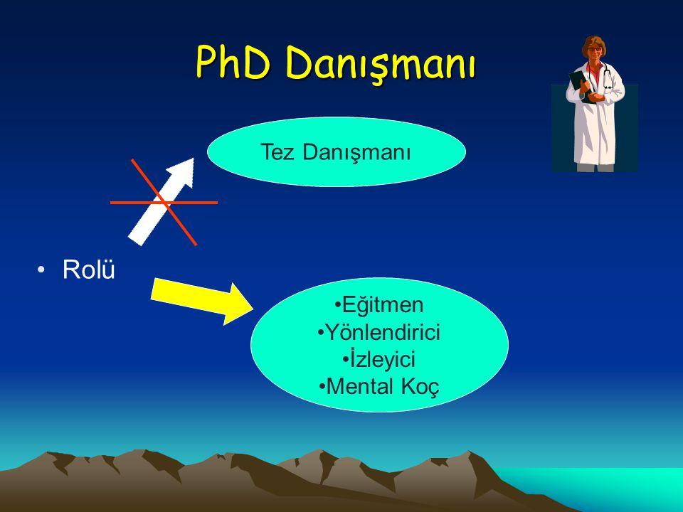 PhD Danışmanı Rolü Eğitmen Yönlendirici İzleyici Mental Koç Tez Danışmanı