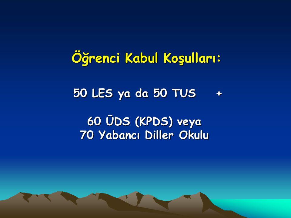 Öğrenci Kabul Koşulları: 50 LES ya da 50 TUS + 60 ÜDS (KPDS) veya 70 Yabancı Diller Okulu Öğrenci Kabul Koşulları: 50 LES ya da 50 TUS + 60 ÜDS (KPDS) veya 70 Yabancı Diller Okulu