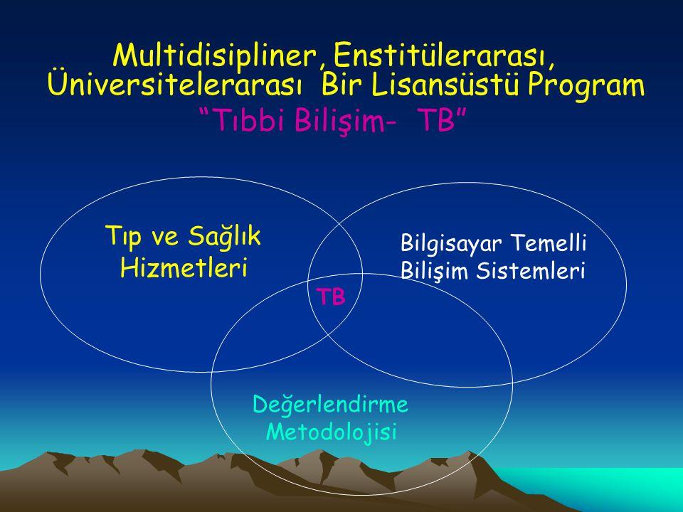Multidisipliner, Enstitülerarası, Üniversitelerarası Bir Lisansüstü Program Tıbbi Bilişim- TB Tıp ve Sağlık Hizmetleri Bilgisayar Temelli Bilişim Sistemleri Değerlendirme Metodolojisi TB