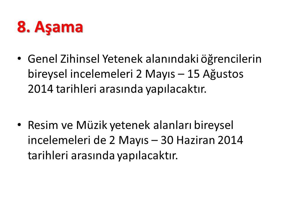 8. Aşama Genel Zihinsel Yetenek alanındaki öğrencilerin bireysel incelemeleri 2 Mayıs – 15 Ağustos 2014 tarihleri arasında yapılacaktır. Resim ve Müzi