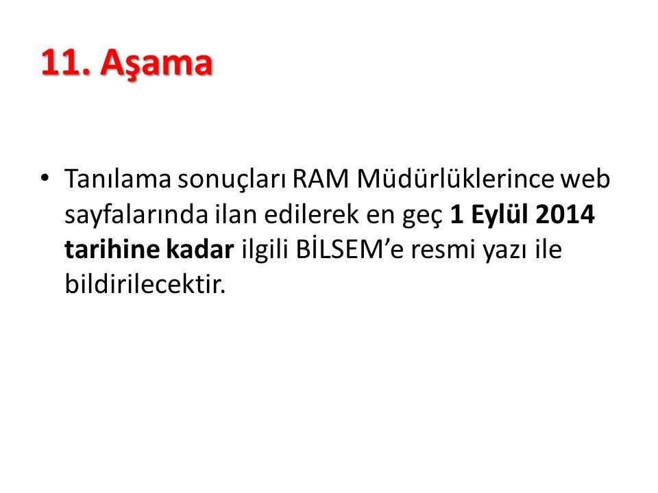 11. Aşama Tanılama sonuçları RAM Müdürlüklerince web sayfalarında ilan edilerek en geç 1 Eylül 2014 tarihine kadar ilgili BİLSEM'e resmi yazı ile bild