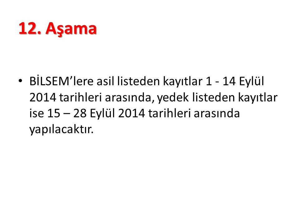 12. Aşama BİLSEM'lere asil listeden kayıtlar 1 - 14 Eylül 2014 tarihleri arasında, yedek listeden kayıtlar ise 15 – 28 Eylül 2014 tarihleri arasında y