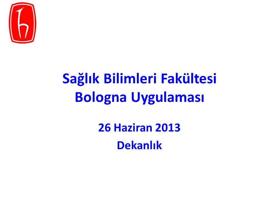 Sağlık Bilimleri Fakültesi Bologna Uygulaması 26 Haziran 2013 Dekanlık